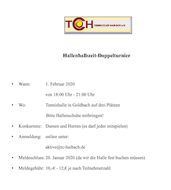 Hallenhalbzeit-Doppelturnier in Goldbach